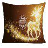 Merry Christmas Sparkling Reindeer Print Decorative Pillowcase - GOLD BROWN