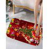Christmas Tree Gift Santa Claus Print Flannel Skidproof Bath Mat - RED