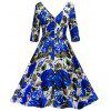 Vintage Floral Print Cut Out Pin Up Party Dress - AZUL
