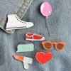 Lipstick Balloon Shoe Heart Glasses Brooch Set - RED