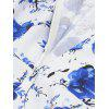 Retro Floral Print Party Pin Up Dress - BLUE
