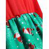 Christmas Santa Claus Snowflake Vintage Plus Size Dress - RED AND GREEN