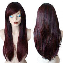 Inclined Bang Colormix Long Straight Synthetic Wig