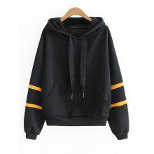 Letter Ribbed Panel Oversized Hoodie