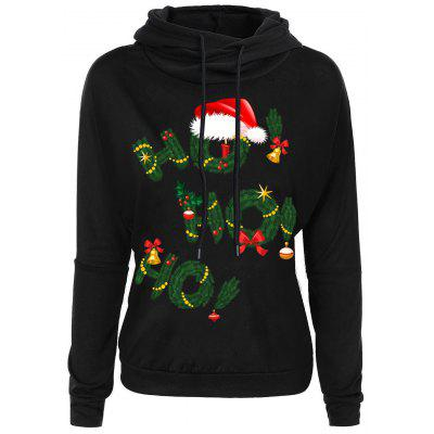 Drop Shoulder Christmas Grass Letters Print Hoodie