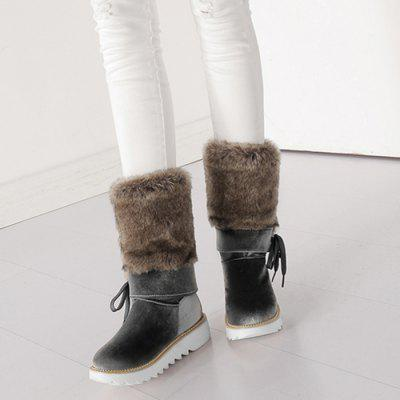 Faux Fur Stitching Mid Calf BootsWomens Boots<br>Faux Fur Stitching Mid Calf Boots<br><br>Boot Height: Mid-Calf<br>Boot Type: Fashion Boots<br>Closure Type: Slip-On<br>Gender: For Women<br>Heel Type: Low Heel<br>Package Contents: 1 x Boots (pair)<br>Pattern Type: Solid<br>Season: Spring/Fall, Winter<br>Shoe Width: Medium(B/M)<br>Toe Shape: Round Toe<br>Upper Material: Fur,Suede<br>Weight: 1.3800kg
