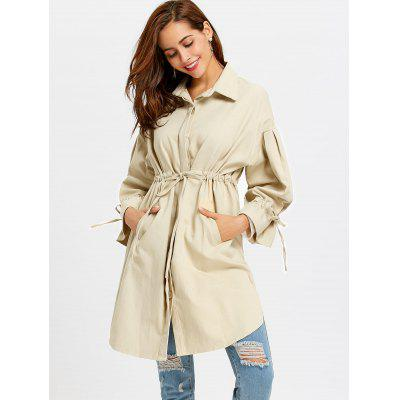 Button Up Drawstring Waist CoatJackets &amp; Coats<br>Button Up Drawstring Waist Coat<br><br>Collar: Shirt Collar<br>Material: Polyester<br>Package Contents: 1 x Coat<br>Pattern Type: Solid<br>Shirt Length: Long<br>Sleeve Length: Full<br>Style: Casual<br>Type: Wide-waisted<br>Weight: 0.7650kg