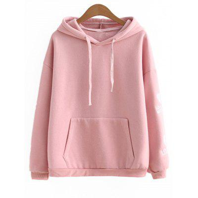 Heart Letter Embroidered Drawstring Hoodie