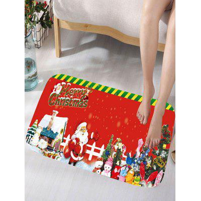 Flannel Skidproof Merry Christmas Graphic Bath Mat