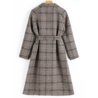 Side Slit Belted Plaid Coat with PocketsJackets &amp; Coats<br>Side Slit Belted Plaid Coat with Pockets<br><br>Collar: Lapel<br>Material: Polyester<br>Package Contents: 1 x Coat  1 x Belt<br>Pattern Type: Plaid<br>Shirt Length: X-Long<br>Sleeve Length: Full<br>Style: Casual<br>Type: Wide-waisted<br>Weight: 1.0500kg