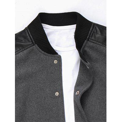 Slim Snap Button Wool Blend JacketMens Jackets &amp; Coats<br>Slim Snap Button Wool Blend Jacket<br><br>Closure Type: Single Breasted<br>Clothes Type: Jackets<br>Collar: Stand Collar<br>Material: Faux Leather, Polyester, Wool<br>Occasion: Going Out, Daily Use, Casual<br>Package Contents: 1 x Jacket<br>Season: Fall, Winter<br>Shirt Length: Regular<br>Sleeve Length: Long Sleeves<br>Style: Fashion, Casual<br>Weight: 0.8000kg