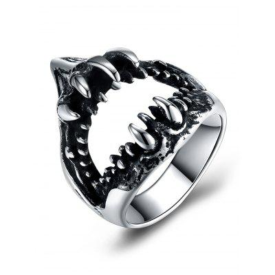 Buy SILVER 8 Vintage Gothic Style Stainless Steel Teeth Biker Ring for $6.21 in GearBest store