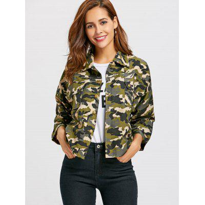 Camo Print Button Up Jacket