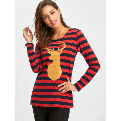 Christmas Striped Elk Print T-shirtBlouses<br>Christmas Striped Elk Print T-shirt<br><br>Collar: Scoop Neck<br>Material: Cotton<br>Package Contents: 1 x T-shirt<br>Pattern Type: Striped<br>Season: Fall, Spring<br>Shirt Length: Regular<br>Sleeve Length: Full<br>Style: Fashion<br>Weight: 0.3200kg