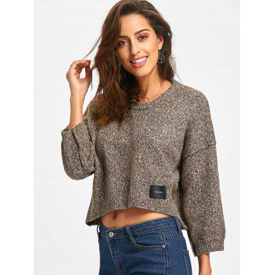 Crew Neck Drop Shoulder Cropped SweaterSweaters &amp; Cardigans<br>Crew Neck Drop Shoulder Cropped Sweater<br><br>Collar: Crew Neck<br>Material: Acrylic, Polyester<br>Package Contents: 1 x Sweater<br>Pattern Type: Solid<br>Season: Spring, Fall<br>Sleeve Length: Three Quarter<br>Style: Fashion<br>Type: Pullovers<br>Weight: 0.6000kg
