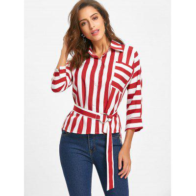Pocket Striped Tunic BlouseBlouses<br>Pocket Striped Tunic Blouse<br><br>Collar: Shirt Collar<br>Material: Polyester<br>Package Contents: 1 x Blouse  1 x Belt<br>Pattern Type: Stripe<br>Season: Fall, Spring<br>Shirt Length: Regular<br>Sleeve Length: Full<br>Style: Fashion<br>Weight: 0.2600kg
