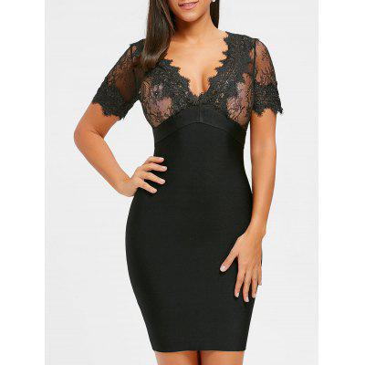 Buy BLACK M Lace Insert Plunging Neck Bandage Dress for $62.10 in GearBest store