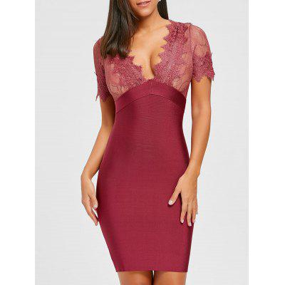 Buy RED L Lace Insert Plunging Neck Bandage Dress for $62.10 in GearBest store