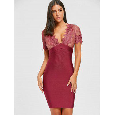Lace Insert Plunging Neck Bandage DressWomens Dresses<br>Lace Insert Plunging Neck Bandage Dress<br><br>Dresses Length: Mini<br>Elasticity: Elastic<br>Embellishment: Lace<br>Material: Nylon, Rayon, Spandex<br>Neckline: Plunging Neck<br>Package Contents: 1 x Dress<br>Pattern Type: Solid<br>Season: Fall, Spring<br>Silhouette: Sheath<br>Sleeve Length: Short Sleeves<br>Style: Sexy &amp; Club<br>Weight: 0.5500kg<br>With Belt: No