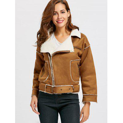 Faux Shearling Suede Moto Jacket