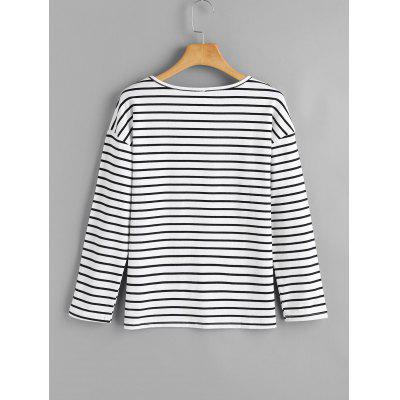 Criss Cross Striped TopTees<br>Criss Cross Striped Top<br><br>Collar: Round Neck<br>Embellishment: Criss-Cross<br>Material: Cotton, Polyester<br>Package Contents: 1 x Top<br>Pattern Type: Striped<br>Seasons: Autumn,Spring,Spring/Fall<br>Shirt Length: Regular<br>Sleeve Length: Full<br>Style: Fashion<br>Weight: 0.2800kg