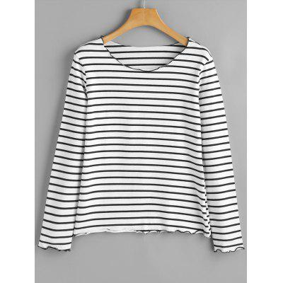 Piped Striped Long Sleeve Top