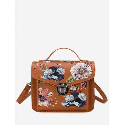 Buy BROWN Floral Embroidery Studs Crossbody Bag for $26.72 in GearBest store
