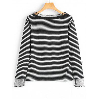 Voile Panel Striped Long Sleeve TopTees<br>Voile Panel Striped Long Sleeve Top<br><br>Collar: Ruff Collar<br>Material: Cotton, Polyester<br>Package Contents: 1 x Top<br>Pattern Type: Striped<br>Seasons: Autumn,Spring,Spring/Fall<br>Shirt Length: Regular<br>Sleeve Length: Full<br>Style: Fashion<br>Weight: 0.2700kg