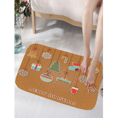 Merry Christmas Ornaments Print Nonslip Flannel Bath Rug