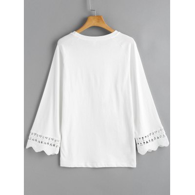 Scalloped Sleeve Crochet Panel TopTees<br>Scalloped Sleeve Crochet Panel Top<br><br>Collar: Round Neck<br>Embellishment: Scalloped<br>Material: Cotton, Polyester<br>Package Contents: 1 x Top<br>Pattern Type: Solid<br>Seasons: Autumn,Spring,Spring/Fall<br>Shirt Length: Regular<br>Sleeve Length: Full<br>Style: Fashion<br>Weight: 0.3000kg