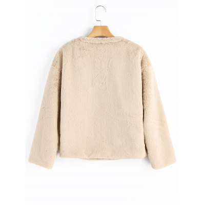Faux Fur Snap Button CoatJackets &amp; Coats<br>Faux Fur Snap Button Coat<br><br>Clothes Type: Jackets<br>Collar: Round Neck<br>Embellishment: Pockets<br>Material: Polyester<br>Package Contents: 1 x Coat<br>Pattern Type: Solid<br>Shirt Length: Regular<br>Sleeve Length: Full<br>Style: Casual<br>Type: Wide-waisted<br>Weight: 0.6700kg