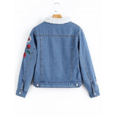 Flower Patched Shearling Denim JacketJackets &amp; Coats<br>Flower Patched Shearling Denim Jacket<br><br>Clothes Type: Jackets<br>Collar: Turn-down Collar<br>Embellishment: Patch Designs<br>Material: Polyester, Jeans<br>Package Contents: 1 x Jacket<br>Pattern Type: Floral<br>Shirt Length: Regular<br>Sleeve Length: Full<br>Style: Casual<br>Type: Wide-waisted<br>Weight: 1.0900kg
