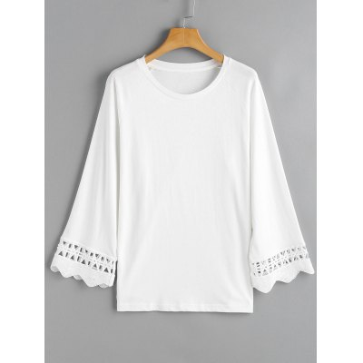 Scalloped Sleeve Crochet Panel Top