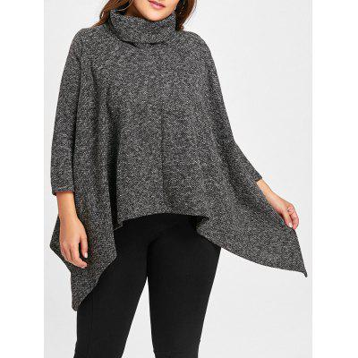 Plus Size Turtleneck Asymmetrical Sweater