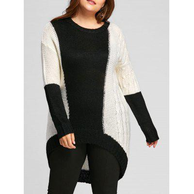 Buy WHITE AND BLACK 3XL Plus Size Color Block Chunky Knit High Low Sweater for $31.23 in GearBest store