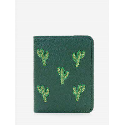 Cactus Embroidery Bi Fold Wallet