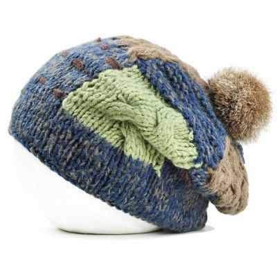Outdoor Fuzzy Ball Embellished Colormix Knitted Beanie