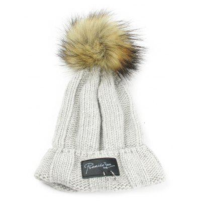 Vintage Metal Rings Embellished Flanging Knitted Pom Beanie