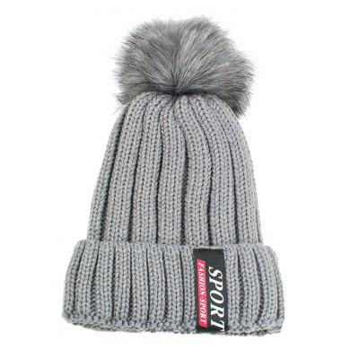 Outdoor Letter Label Pattern Fuzzy Ball Embellished Knitted Beanie