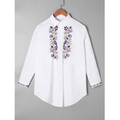 Embroidery Curved Tunic Shirt