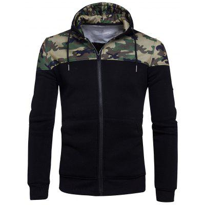 Hooded Camouflage Panel Fleece Zip Up Hoodie