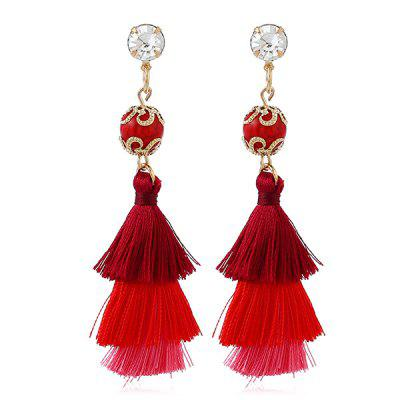 Ethnic Rhinestone Ball Layered Tassel Earrings