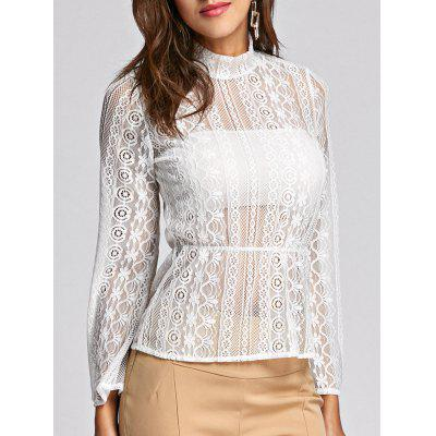Buy WHITE M See Through Bell Sleeve Lace Peplum Blouse for $16.72 in GearBest store