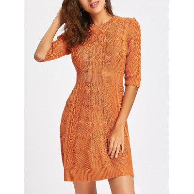 Three Quarter Sleeve Cable Knitted Dress