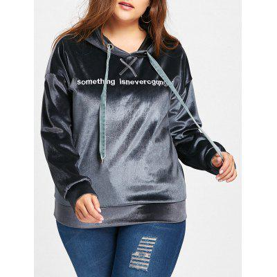 Plus Size Velvet Letter Embroidered Hoodie