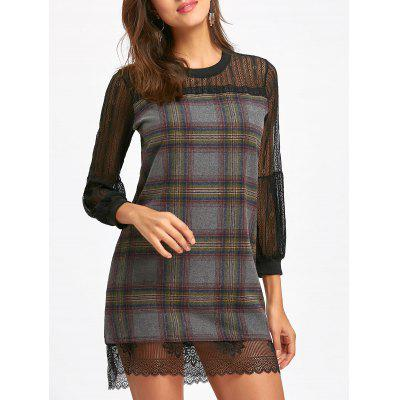 Buy GRAY Lace Insert Puff Sleeve Plaid Mini Wool Dress for $24.83 in GearBest store