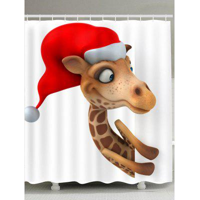 Peeping Christmas Deer Pattern Shower Curtain