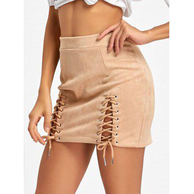 Faux Suede Lace Up A-line SkirtSkirts<br>Faux Suede Lace Up A-line Skirt<br><br>Embellishment: Criss-Cross<br>Length: Mini<br>Material: Cotton, Polyester, Spandex<br>Package Contents: 1 x Skirt<br>Pattern Type: Solid<br>Season: Fall, Spring<br>Silhouette: A-Line<br>Weight: 0.2000kg