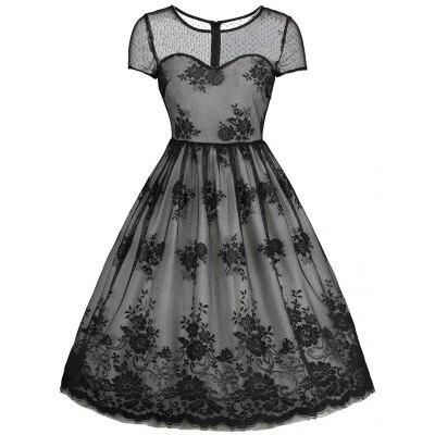 Floral Lace Vintage Overlay Dress