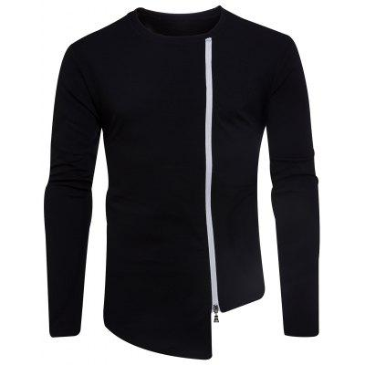 T-shirt assimétrico Zip Zip Neck Oblique Zip